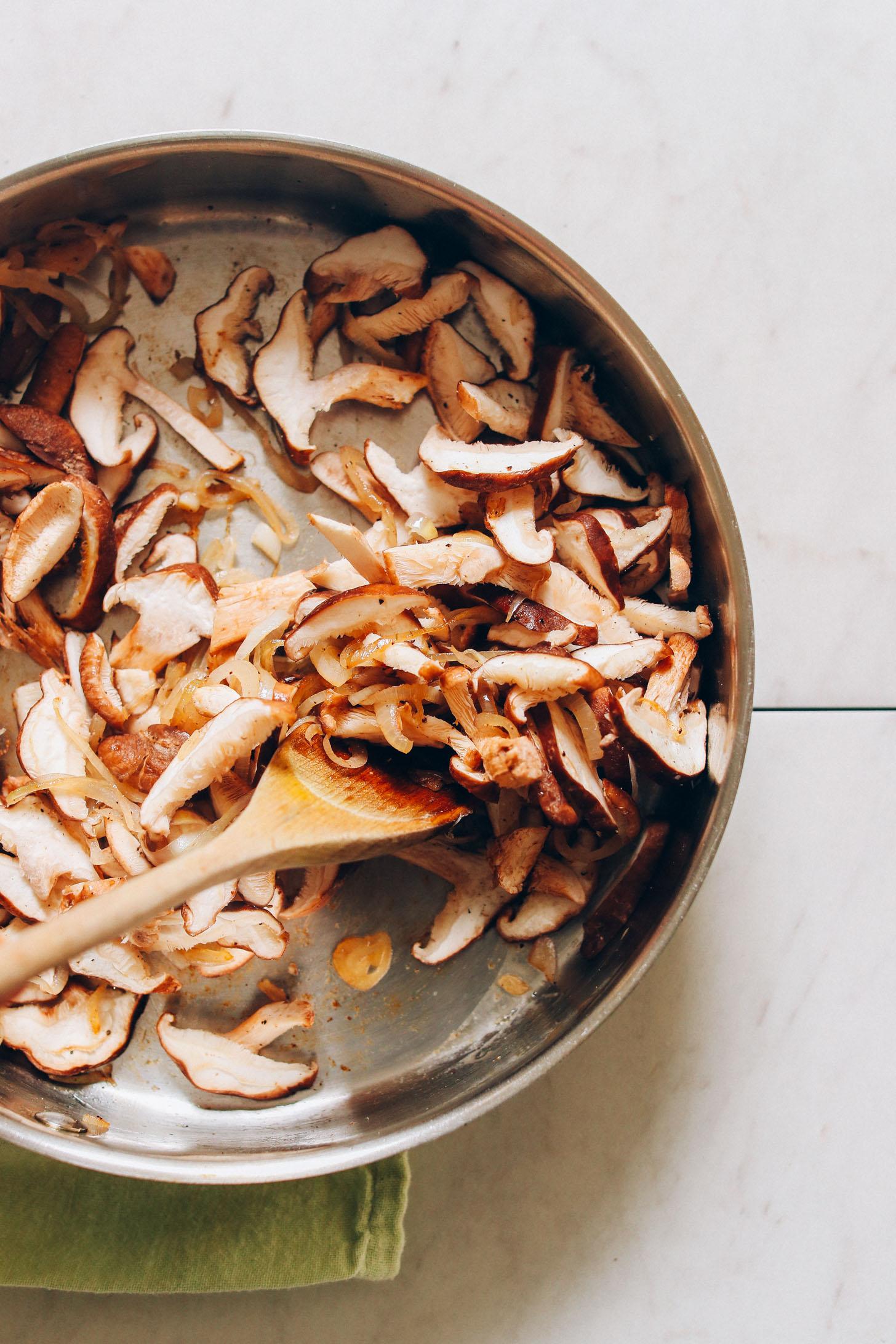 Sautéing shitake mushrooms for homemade gluten-free vegan risotto