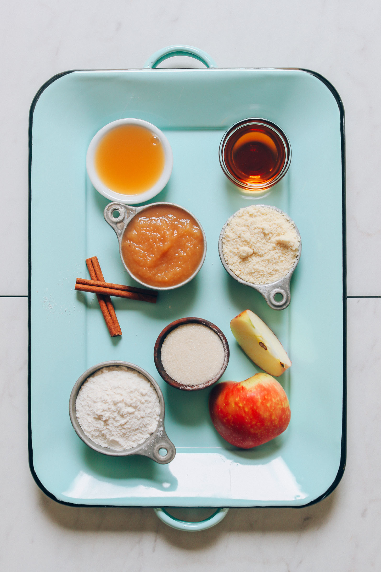 Tray with ingredients for making our gluten-free vegan Apple Cider Donuts recipe