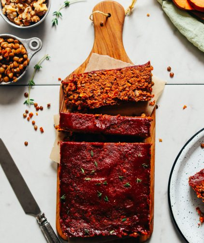 Partially sliced loaf of delicious Vegan Lentil Meatloaf