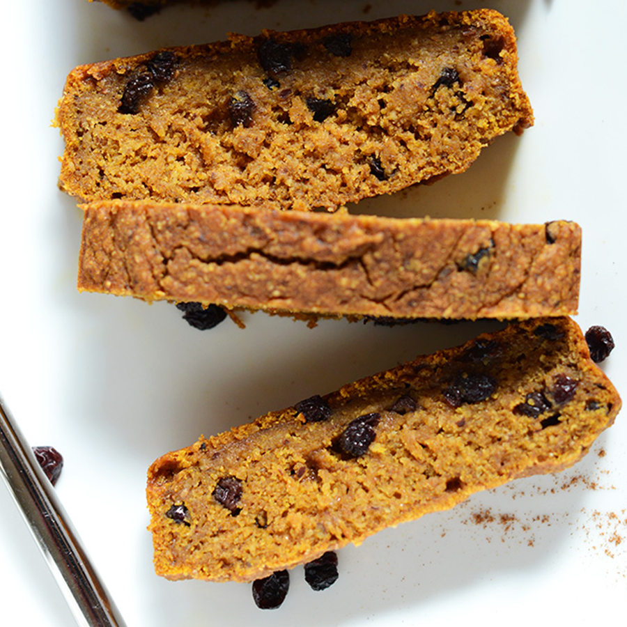 Slices of Pumpkin Bread made with dried currants