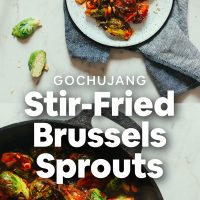 Skillet, tray, and plate of our amazing Gochujang Stir-Fried Brussels Sprouts