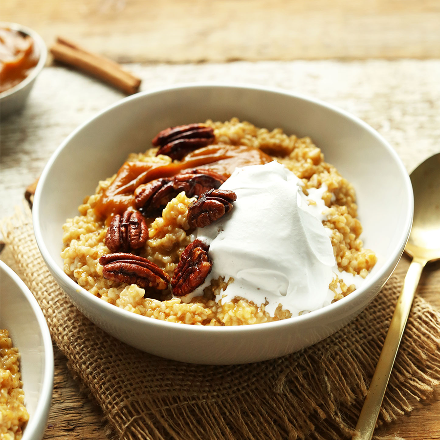 Bowl of Pumpkin Pie Oats with pecans for our post on Plant-Based Pumpkin Recipes