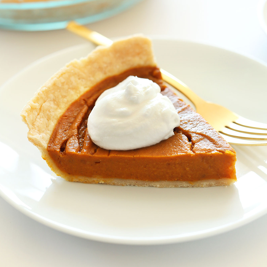 Slice of the best Vegan Gluten-Free Pumpkin Pie