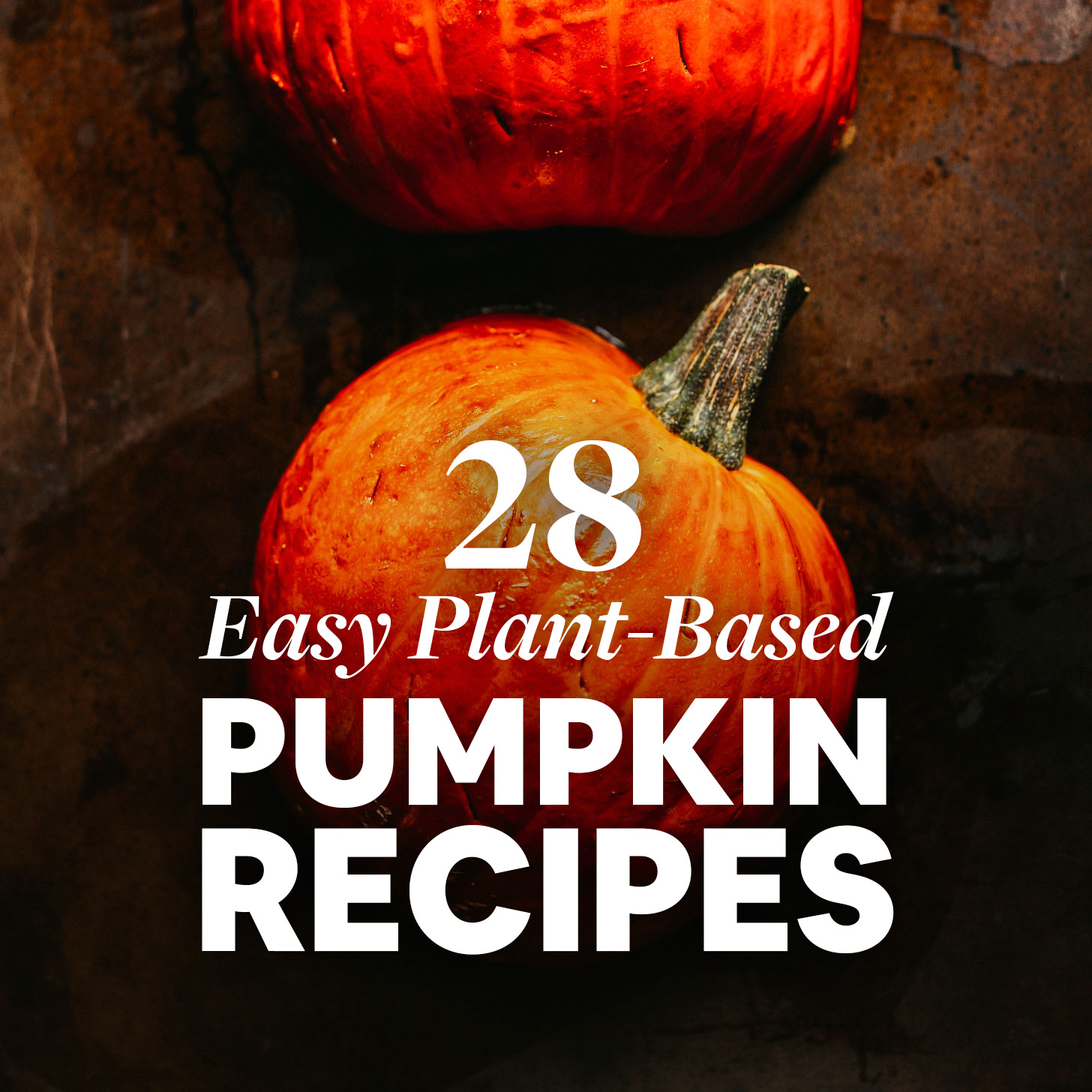 Pumpkins on a baking sheet for our post on easy plant-based pumpkin recipes