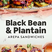 Platter and cutting board of our Vegan Arepa Sandwiches made with plantains, black beans, and guacamole
