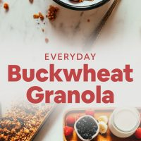 Buckwheat granola in breakfast bowls with fresh fruit and dairy-free milk