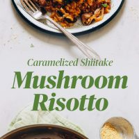 Plate and pan filled with our Vegan Caramelized Shiitake Mushroom Risotto recipe