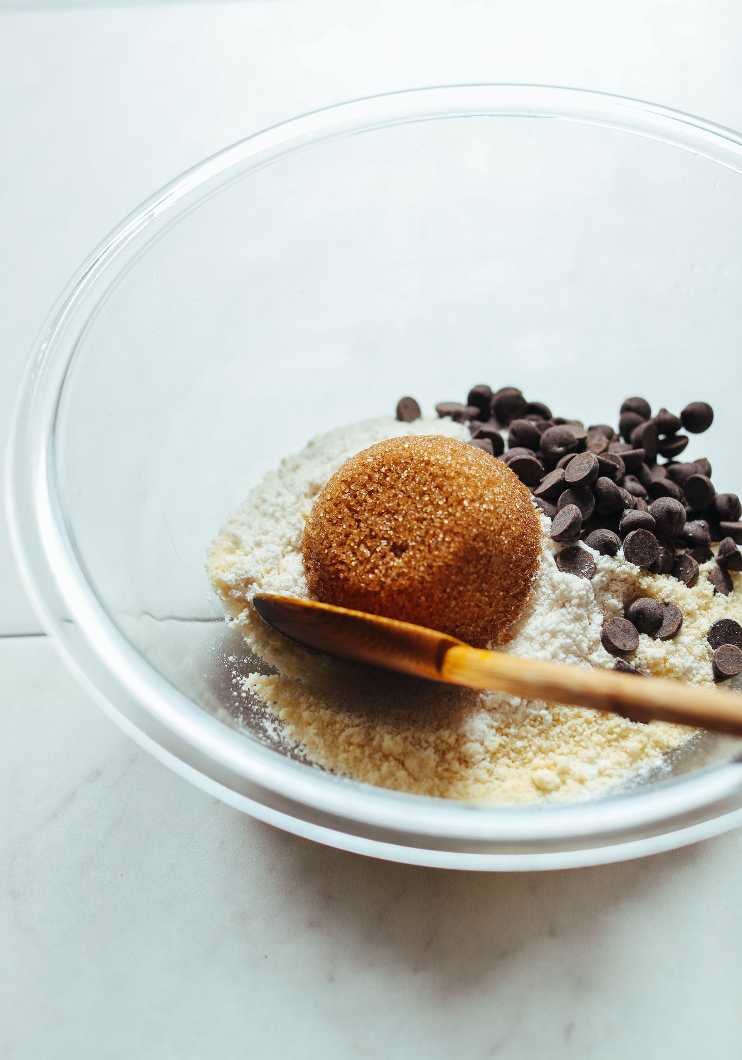 Bowl with dry ingredients for incredible gluten-free vegan chocolate chip cookies