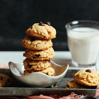 Stack of amazing gluten-free vegan chocolate chip cookies