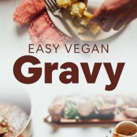 Pouring our Simple Vegan Gravy onto a plate of mashed potatoes
