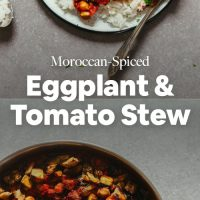 Plate and pan of our Moroccan Spiced Eggplant and Tomato Stew