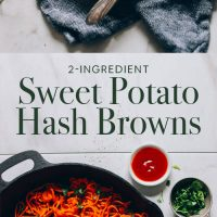 Plate and skillet of our 2-Ingredient Sweet Potato Hash Browns recipe