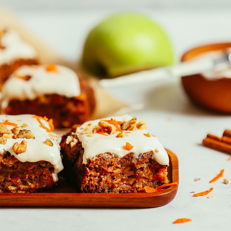 Slices of Gluten-Free Vegan Carrot Apple Snack Cake on a platter