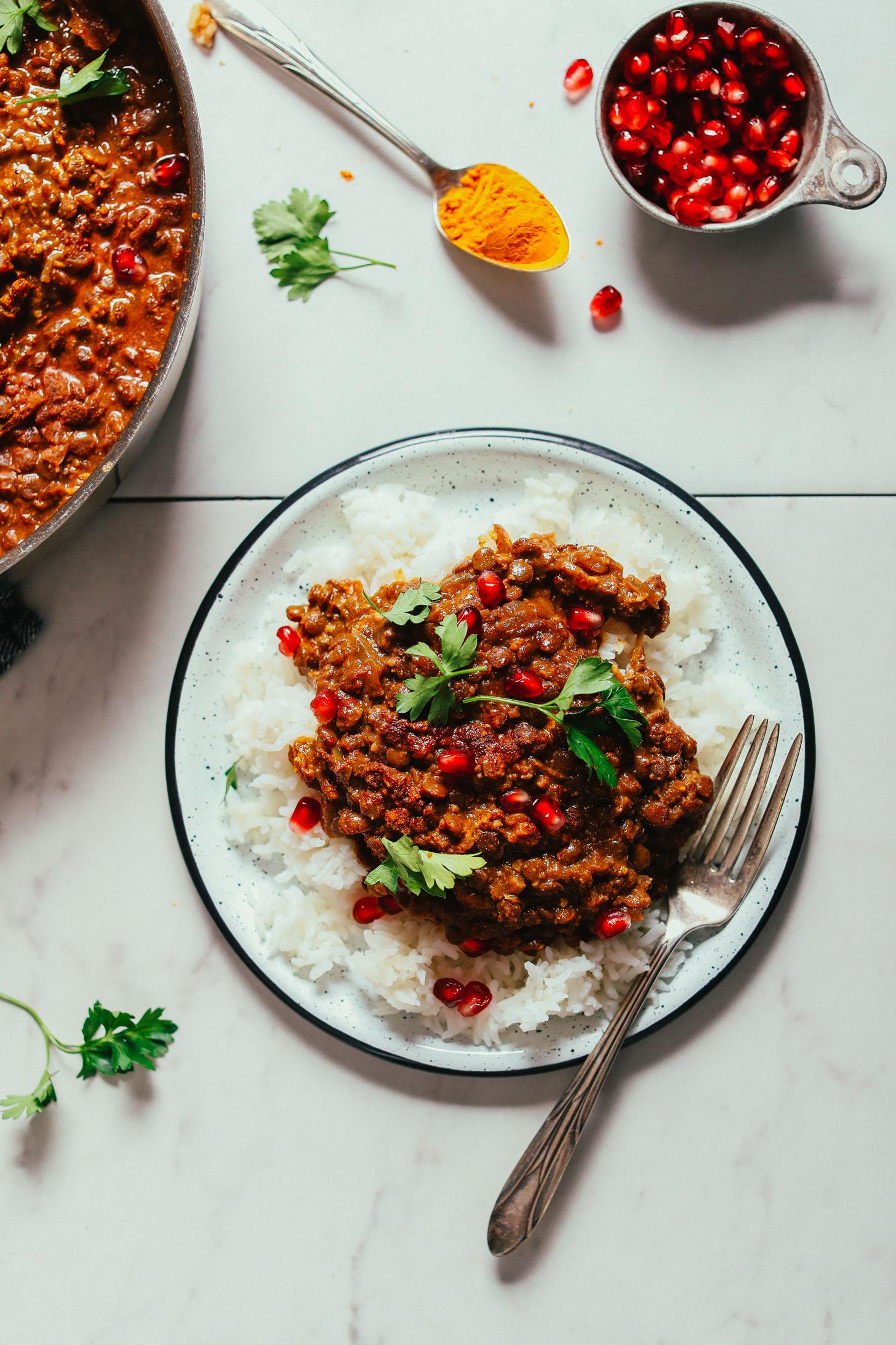Plate of Lentil Fesenjan over rice for a hearty gluten-free vegan meal