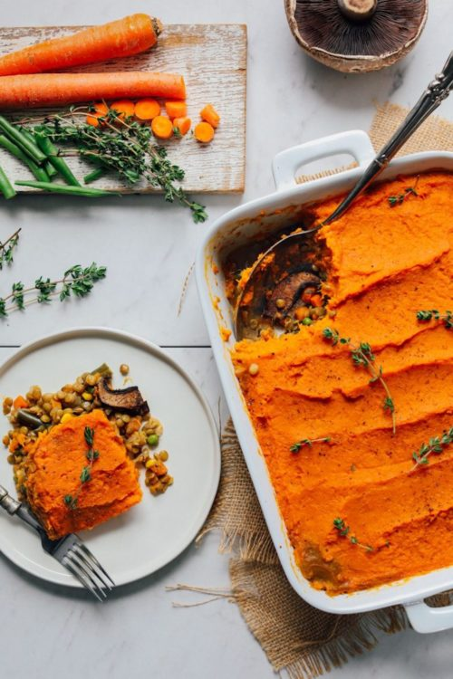 Plate and baking pan of our Sweet Potato Shepherd's Pie recipe