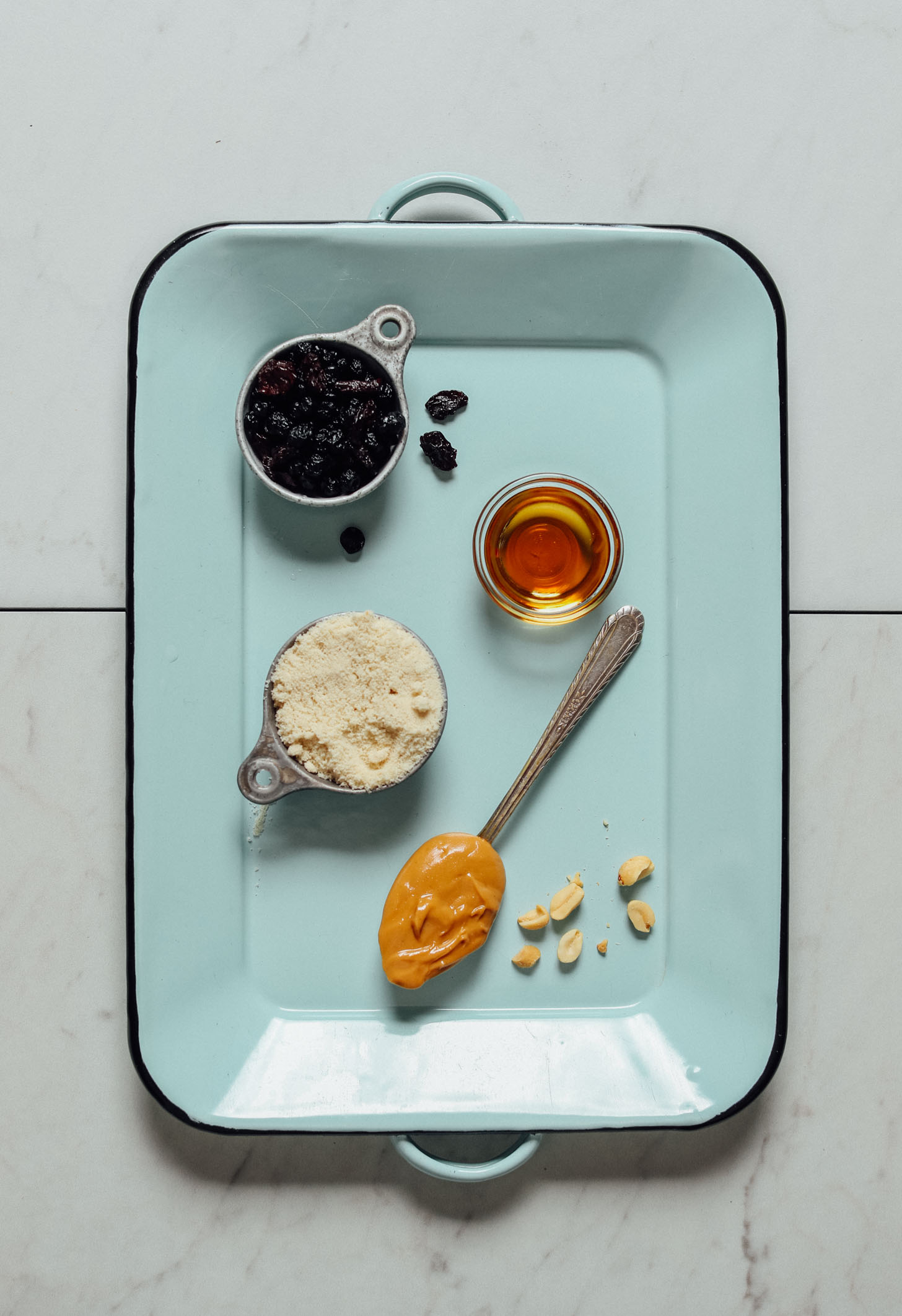 Tray with ingredients for making our No Bake Peanut Butter Thumbprint Cookies recipe