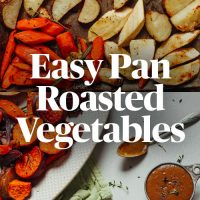 Pan and plate filled with a batch of our Easy Pan Roasted Vegetables recipe
