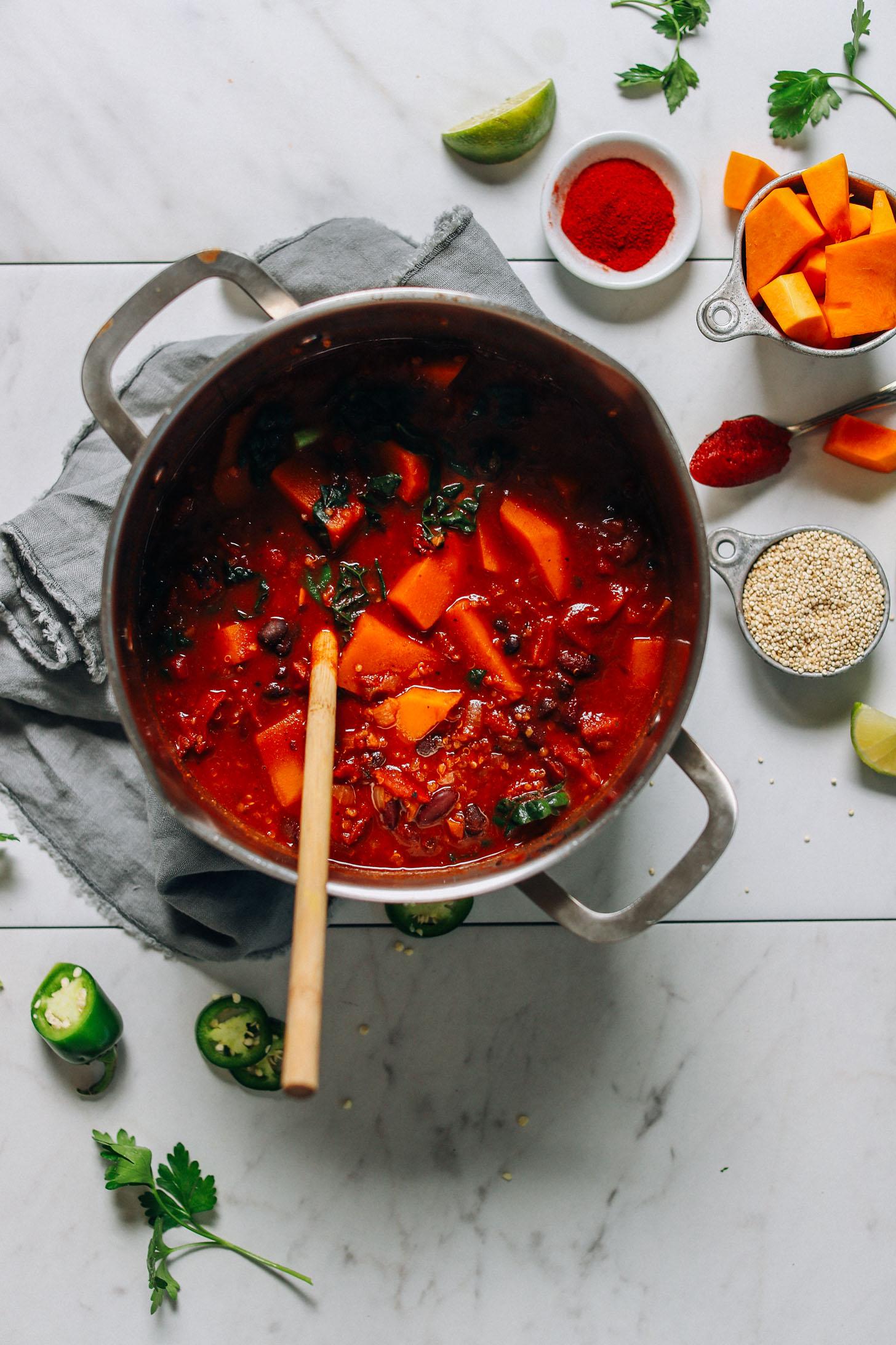 Making a big pot of hearty vegan Butternut Squash Quinoa Chili