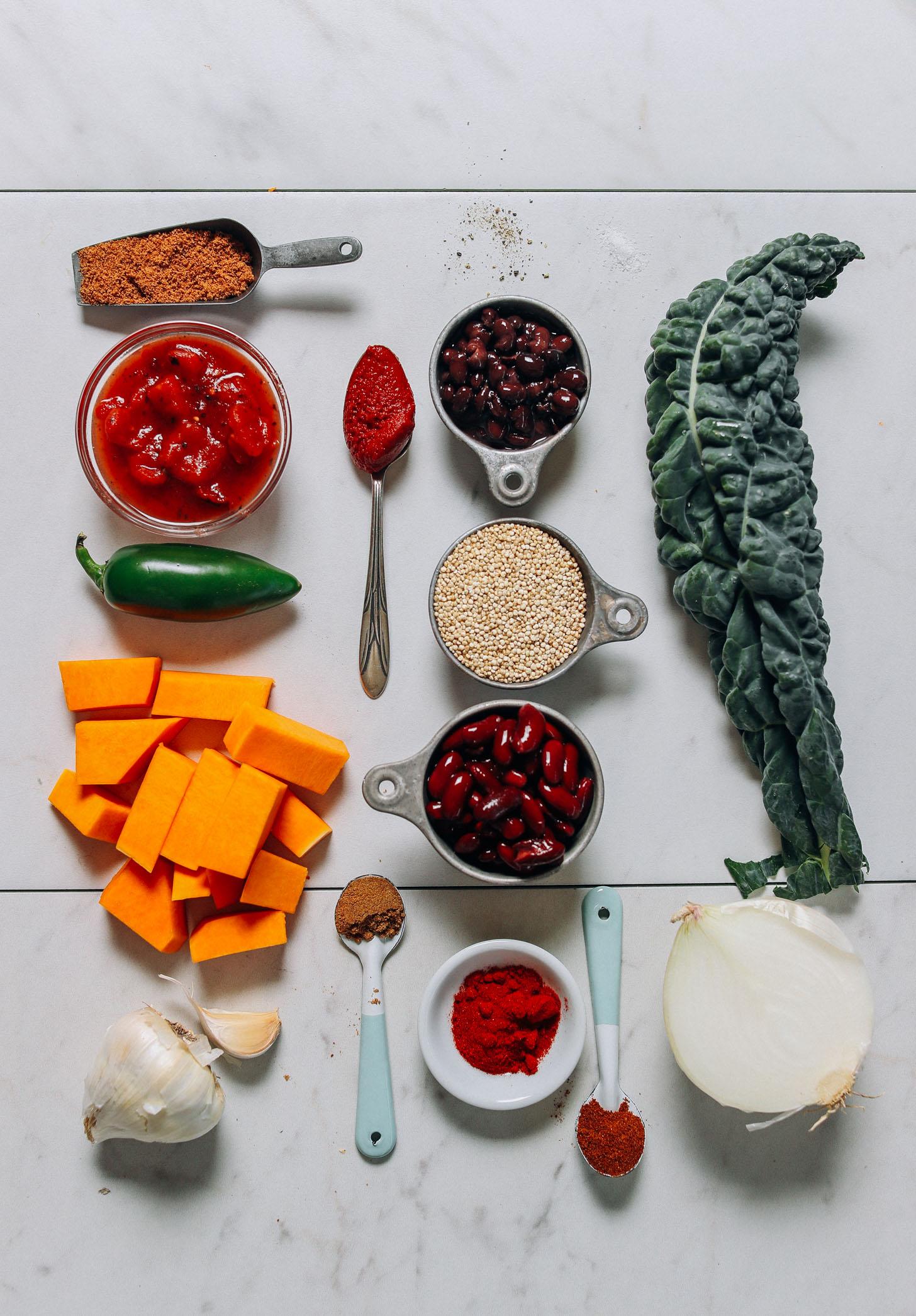 Ingredients for making our 1 pot gluten-free vegan Butternut Squash Quinoa Chili