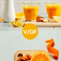 Glasses of our Lemon Ginger Turmeric Wellness Shots and ingredients to make them