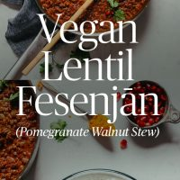 Skillet and plate of our hearty Vegan Lentil Fesenjan recipe