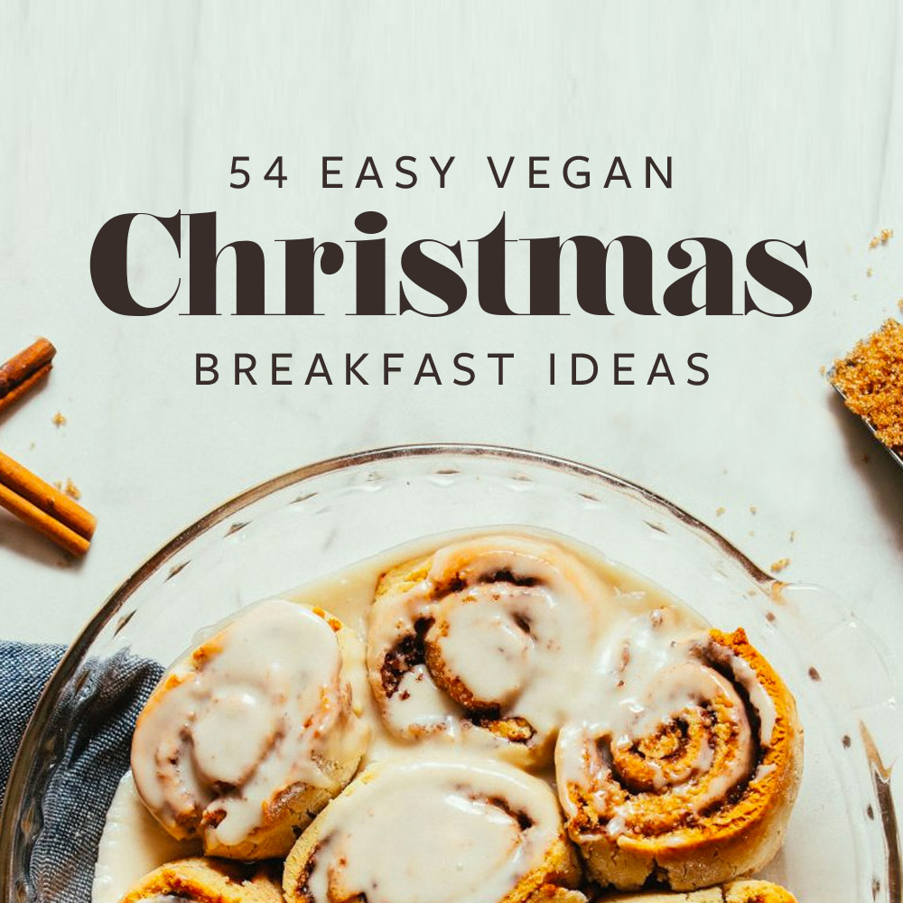 Picture of pie dish filled with iced cinnamon rolls and the test 54 easy vegan christmas breakfast ideas