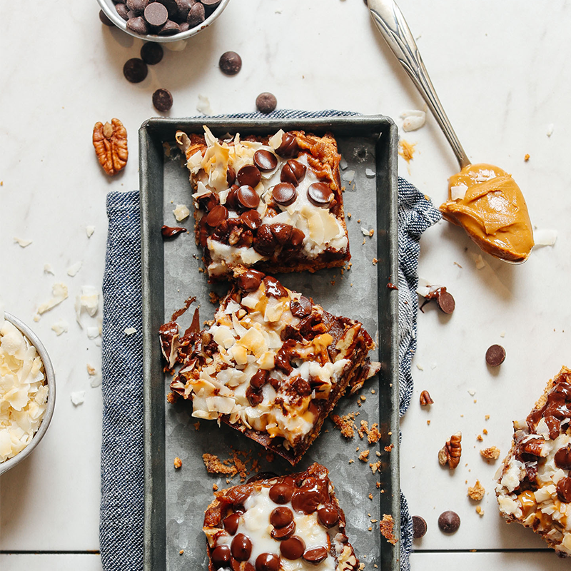 Metal tray of Decadent Vegan 7-Layer Bars for our roundup of Easy New Year's Drinks & Snacks