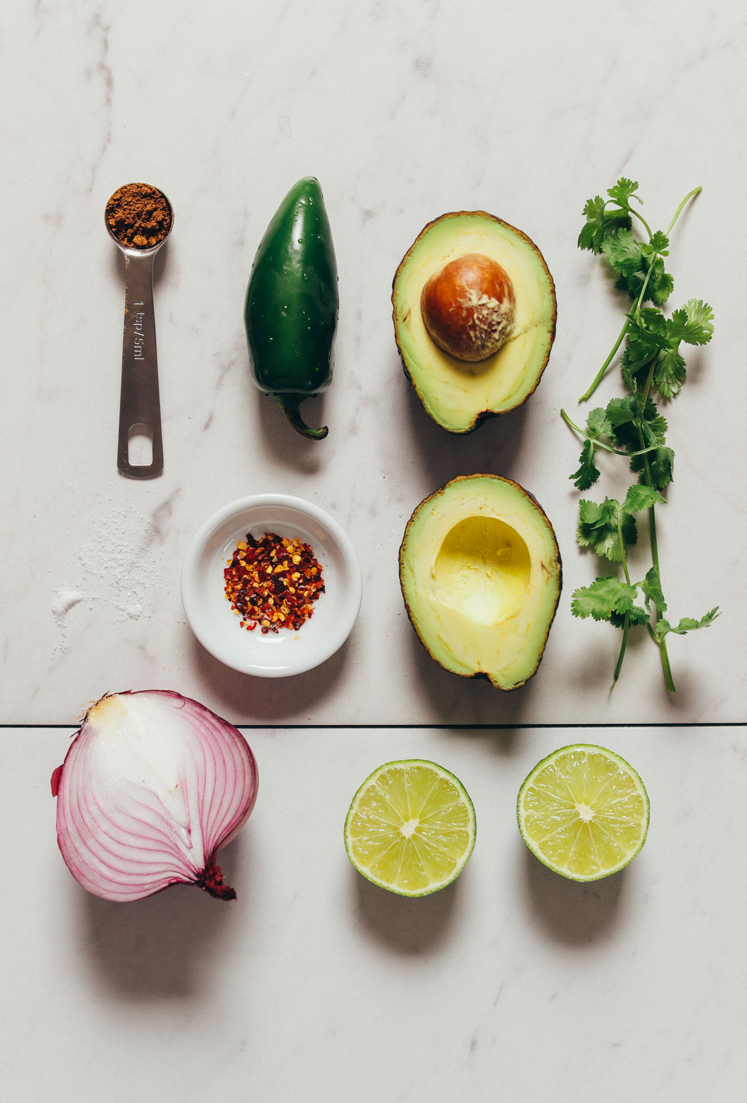 Overhead image of guacamole ingredients lined up in rows, including onion, guacamole, jalapeno, cilantro, and red pepper flake