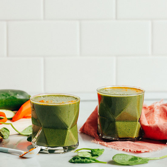 Geometric glasses of our Warming Winter Green Smoothie