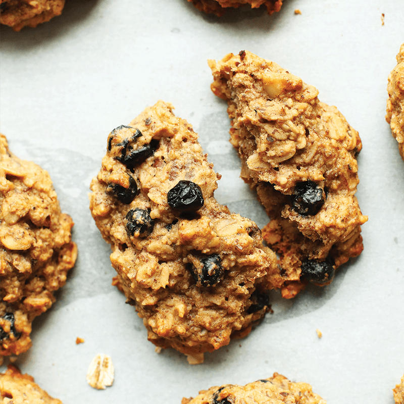 Halved Blueberry Muffin Breakfast Cookie as part of our round-up of vegan baked goods recipes