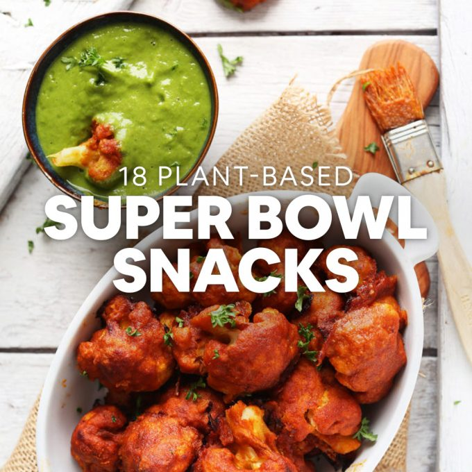 Bowl of vegan Cauliflower Wings and sauce for our Plant-Based Super Bowl Snacks recipe roundup