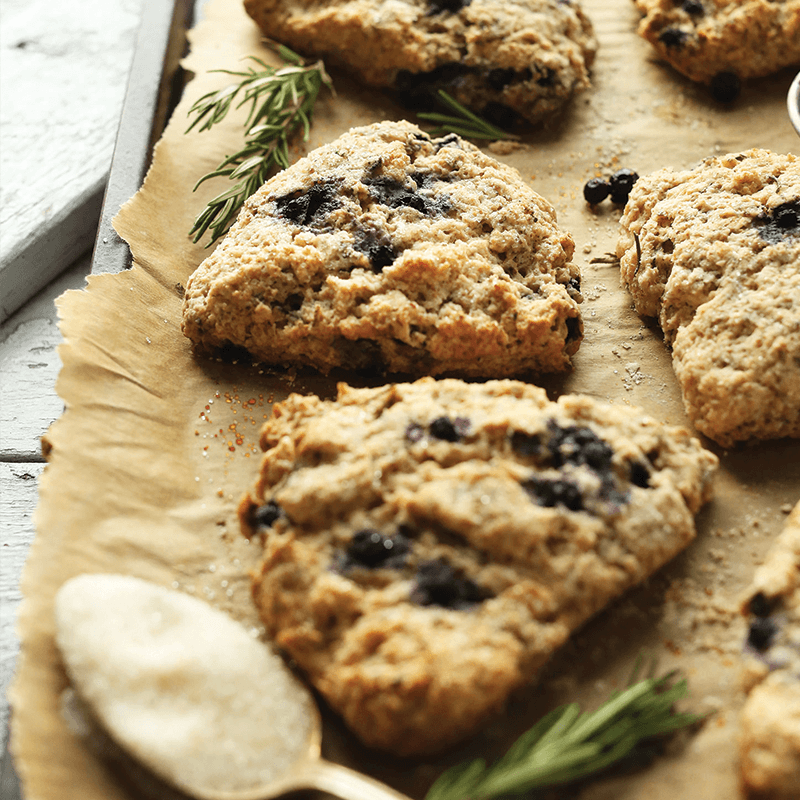 Baking sheet of Blueberry Scones for our round-up of Delicious Vegan Baked Good Recipes