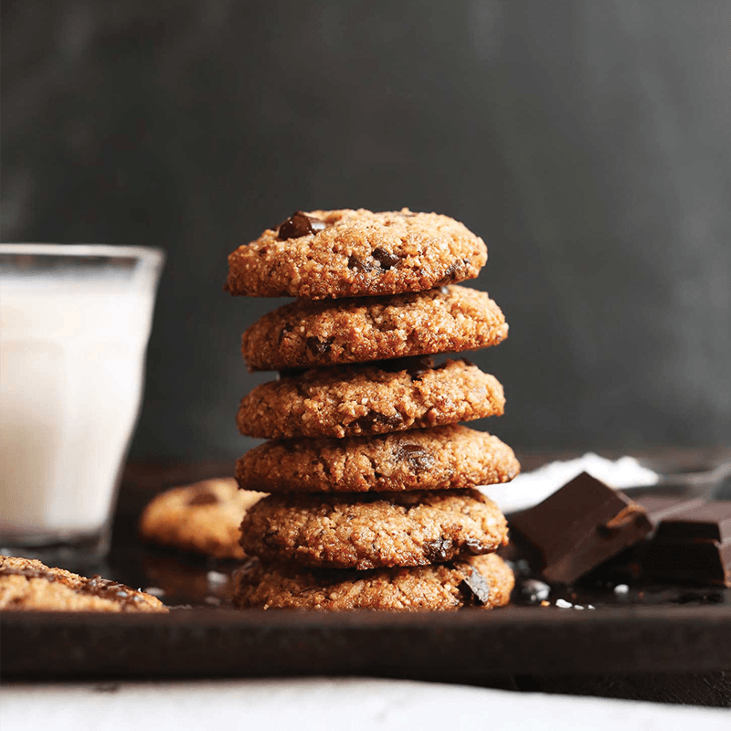 Stack of Almond Meal Chocolate Chip Cookies for our round-up of Delicious Vegan Baked Goods