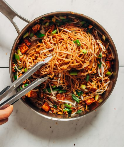 Pan filled with a batch of our Easy Vegan Pad Thai with Tofu recipe