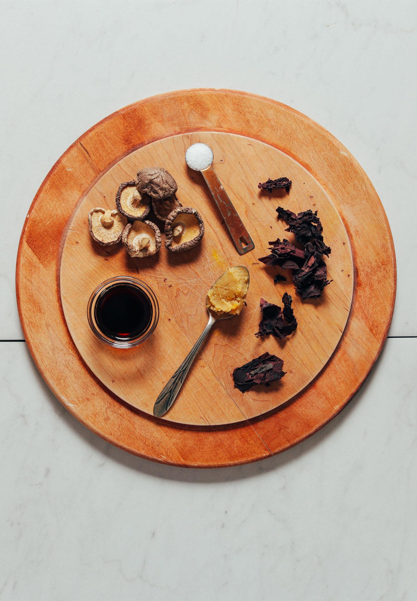 Dulse, shiitakes, miso, tamari, and salt for making vegetarian Fish Sauce