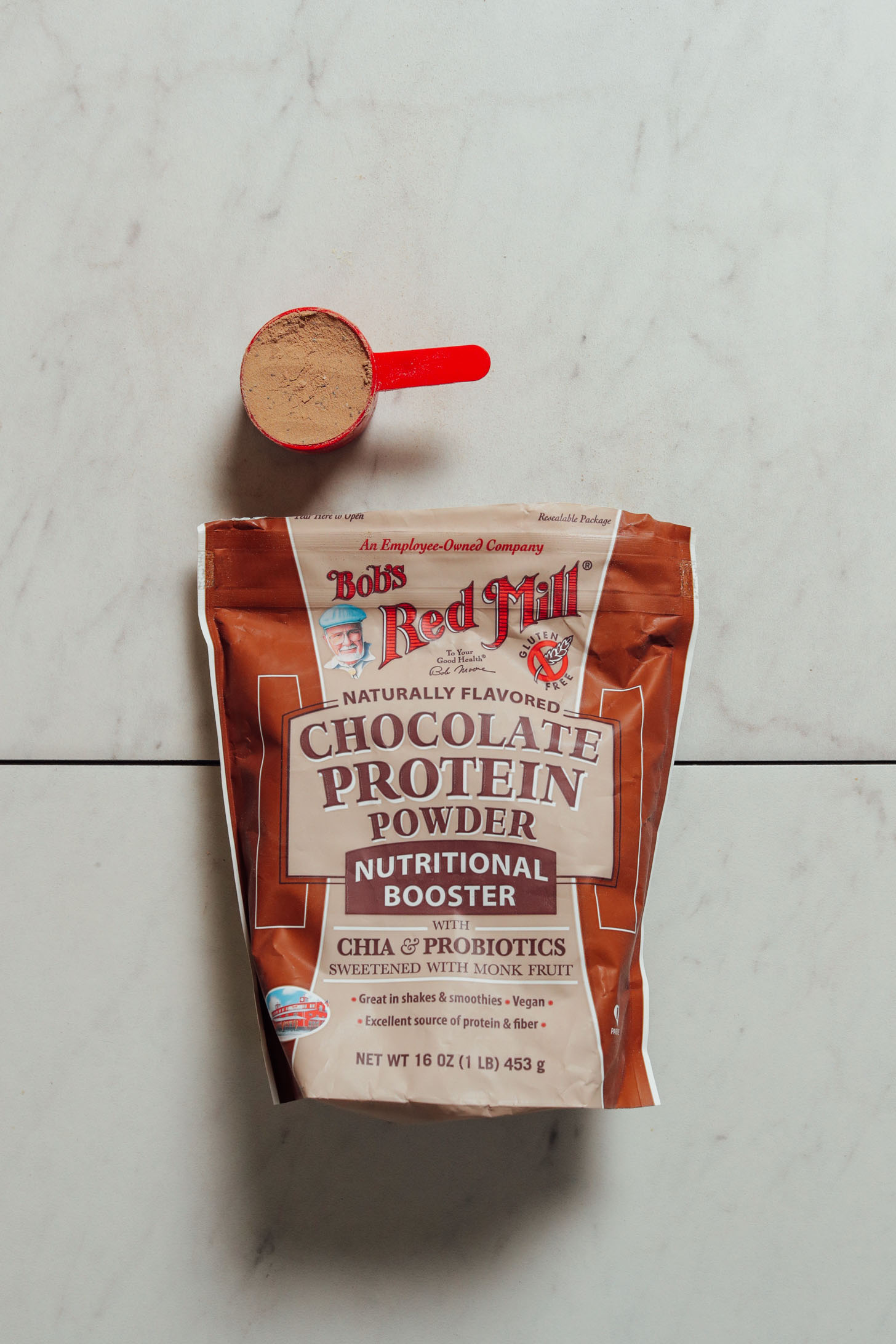Pouch of Bob's Red Mill Chocolate Protein Powder for our plant-based review