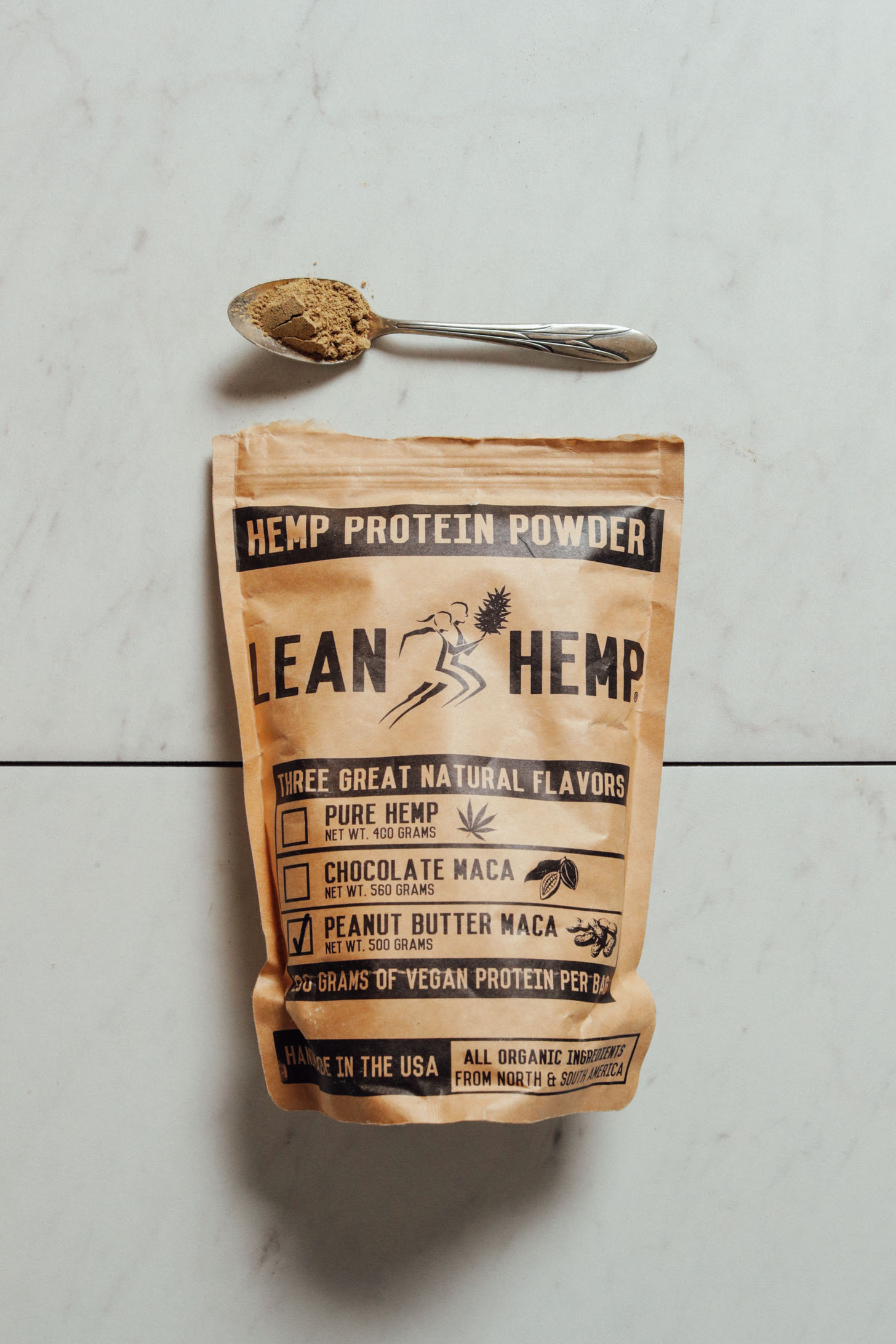 Pouch of Lean Hemp Peanut Butter Maca Protein Powder for our review