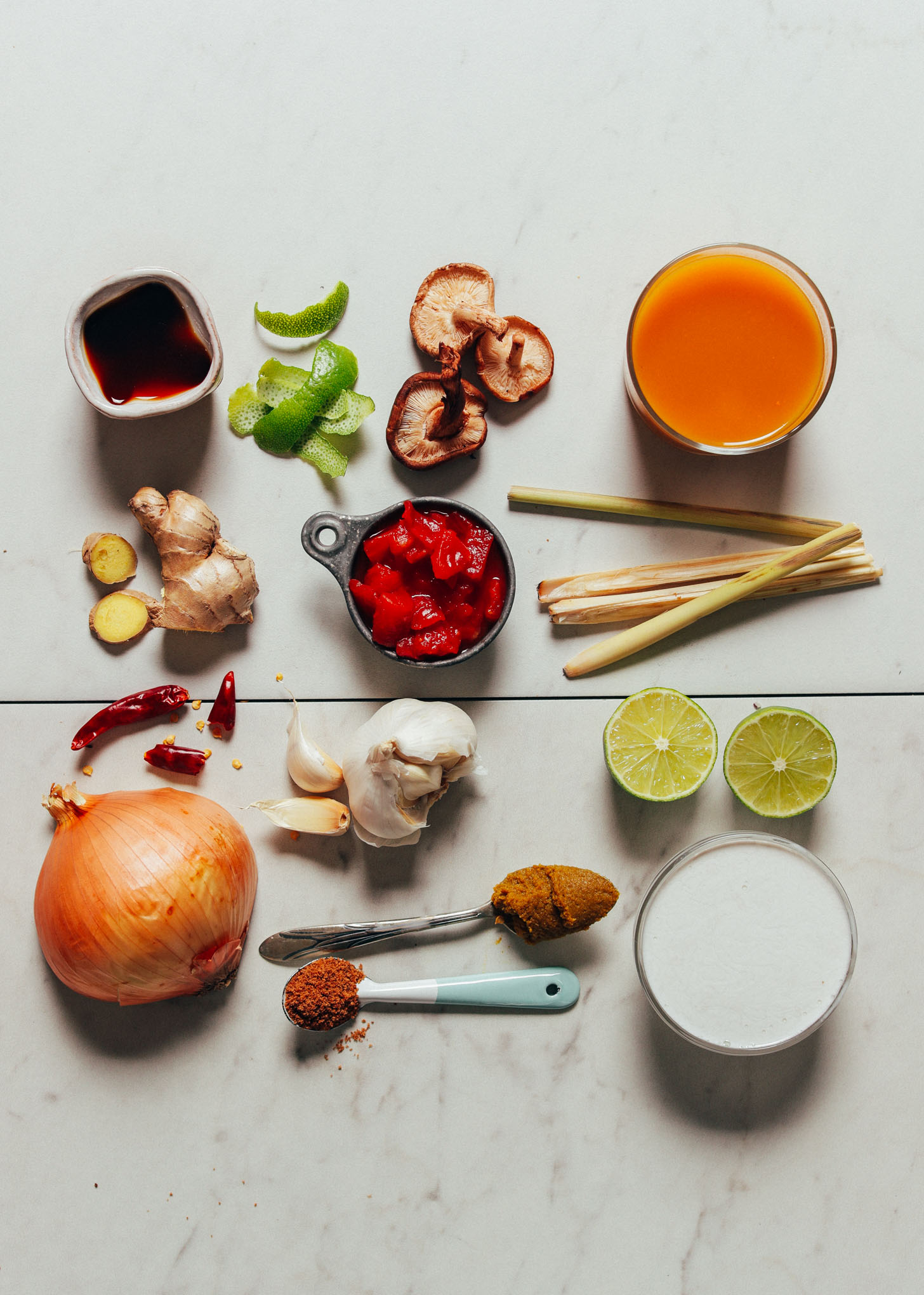 Ingredients for making our simple 1-Pot Vegan Tom Yum Soup recipe
