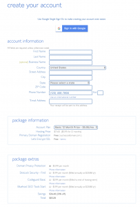 Bluehost Signup form for our tutorial on How to Sign Up for Bluehost
