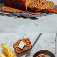 Cutting boards and plate with a loaf of our 1-Bowl Vegan Gluten-Free Banana Bread recipe