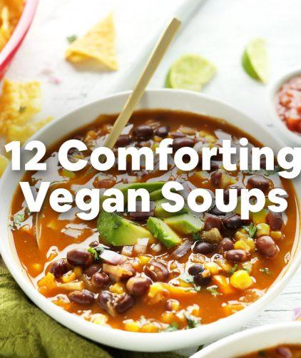 Bowl of chili with overlaid text saying 12 Comforting Vegan Soups