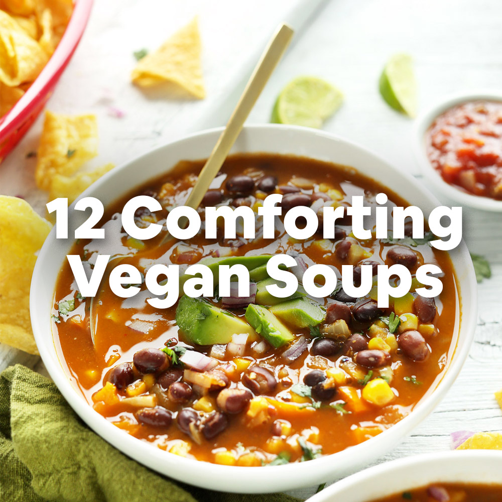 Bowl of chili with overlaid text saying 12 Comforting Vegan Soups