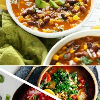 Photos of various types of soup for our 12 Comforting Vegan Soups recipe roundup