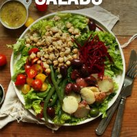 Vegan Nicoise Salad with text overlaid saying 18 Hearty Plant-Based Salads