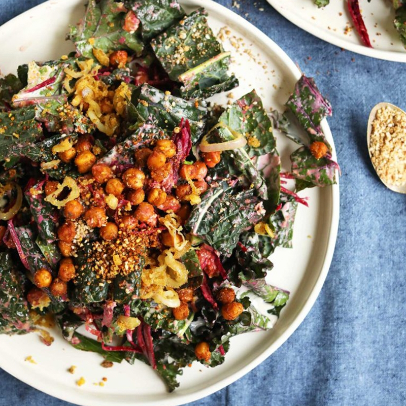 Plate of Kale Salad with Smoky Chickpeas