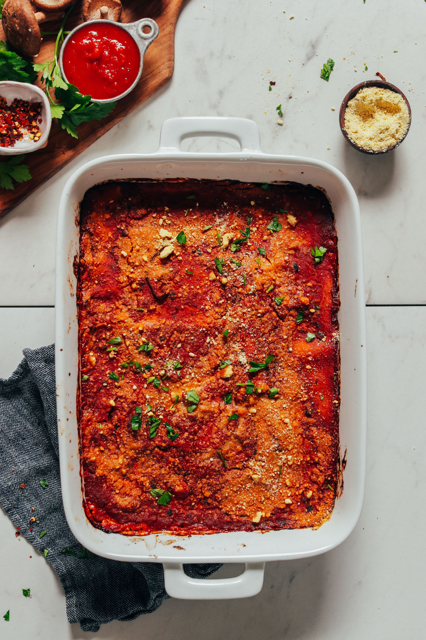 Baking pan filled with a batch of our Easy Vegan Lasagna recipe