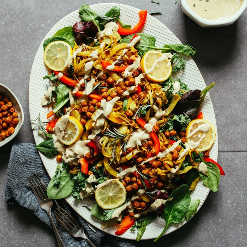Tray of Curry Roasted Fennel Salad with Tahini Dressing