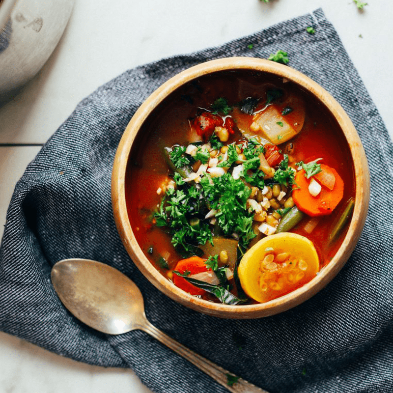 Bowl of Fire Roasted Tomato Mung Bean Soup for our 12 Comforting Vegan Soups recipe roundup