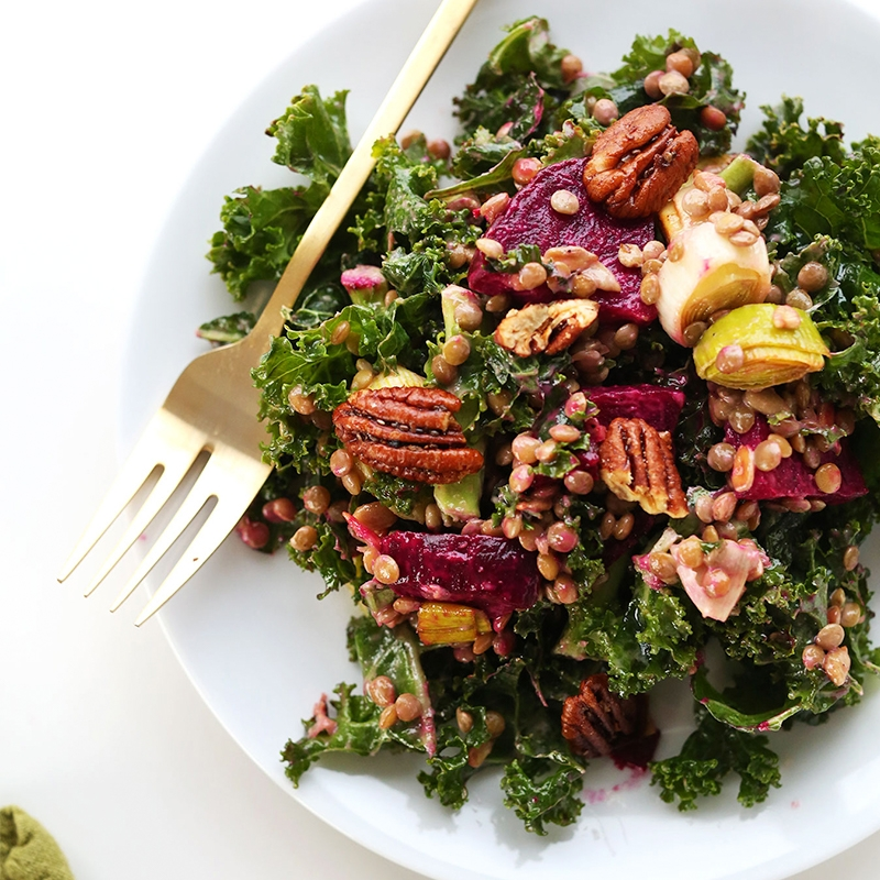 Plate of Kale Salad with Lentils and Beets