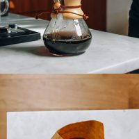 Showing How to Make Pour Over Coffee with an electric kettle and Chemex